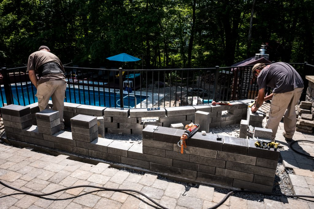Utopian Landscapes, LLC. of Harrisburg, PA, Prioritizes Accuracy when Cutting Lineo Dimensional Stone for Outdoor Kitchen