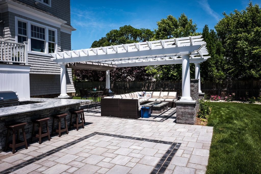 Earthworks Landscape Design & Construction Create Ideal Patio for Cooking, Lounging and Entertaining in Fairfield, CT
